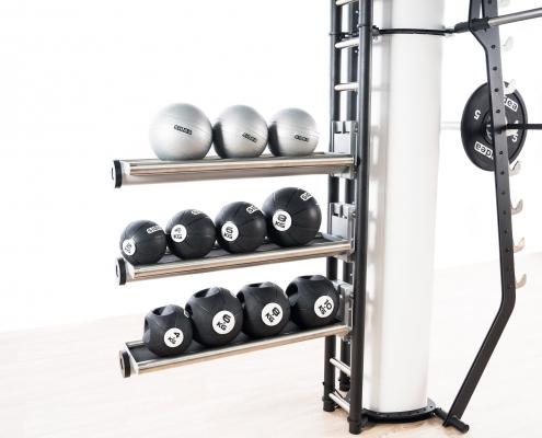 tray storage fitness ball